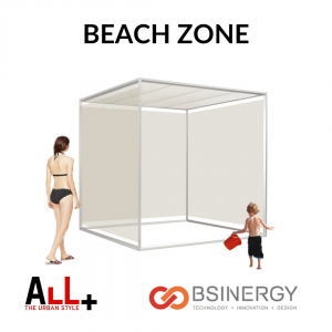 gazebo Qzone collezione Beach Zone con mamma e bimbo in costume